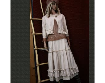 Barchend Two Parted Natur Dress - Skirt with Frills and Lace - Bolero Jacket Lagenlook Clothing