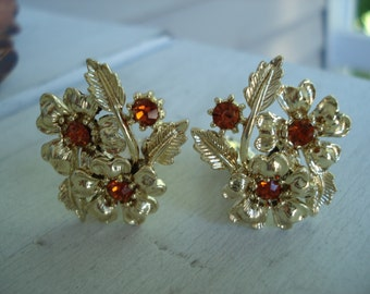 SALE Vintage Gold Topaz Flower Floral Leaf Leaves Rhinestone Clip Earrings Autumn Fall
