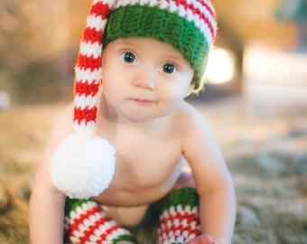 Santa's Helper Elf Hat & Legwarmers Set - Newborn to 12 months- Crochet