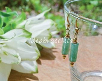 Jade Drop Earrings Gemstone Jewelry Gift For Her Brass Simple Earrings