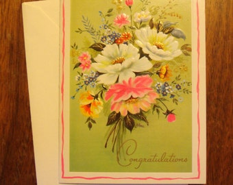 1960s UNUSED Card, Congratulations, with envelope, floral
