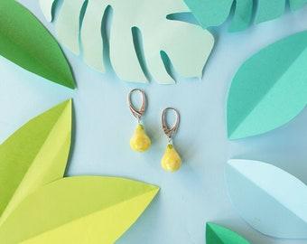Tropical earrings - Food earrings - Lime green earrings - Miniature food earrings - Fruit earrings - Fruit jewelry - Polymer clay earrings