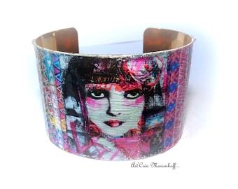 Woman Cuff Bracelet Ethnic bracelet-Portrait woman golden and single-piece Adjustable-ethnic multi-Designs
