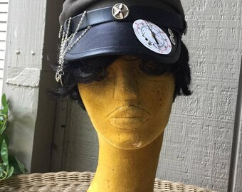 Steampunk Cap Conductor Gears Cogs Embellished Faux Leather Cloth Halloween Hat
