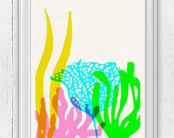 Bright colors Ocean Kelp Seaweed  - sea life print - Marine  sea life illustration A4 print SWC072