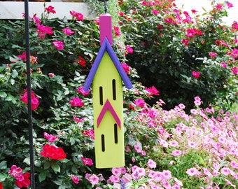 Hanging Butterfly House, Whimsical Butterfly House, Painted Butterfly Houses