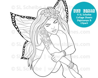 Sitting fairy Digistamp, reflective fairy with wings digital stamp, quiet fairy coloring page, adult coloring