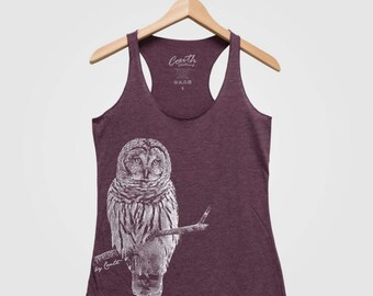 BARRED OWL Women Triblend Racerback Tank Top Hand Screen Print