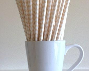 Cream Paper Straws Beige Tan Ivory Chevron Party Supplies Party Decor Bar Cart Cake Pop Sticks Mason Jar Straws Graduation