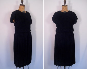 1980s minimalist black party dress • 80s semi sheer crimped cocktail dress • vintage lbd • vintage Choon California disco dress