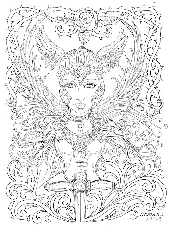 Warrior Angel Coloring Page Adult Christian Color Rh Etsy Com Bible Pages For Toddlers Peter And Cornelius