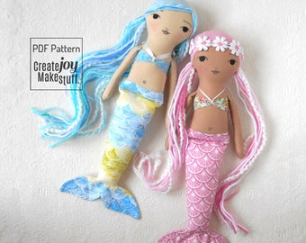 "NEW 14"" Mermaid Doll Sewing Pattern and Tutorial - magical - rag doll - cloth - fabric - play - child - gift"