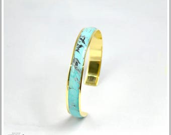 24K gold plated Bangle Bracelet marble turquoise Alicia
