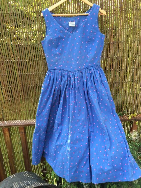 Laura ashleyvintage polkadot dress. 37x32x44 ins length. Blue and pink