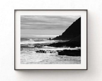 Beach Photography Print - Black and White Landscape - Pacific Ocean Coastal Home Office Decor - Digital Download - Masculine Wall Art Gift