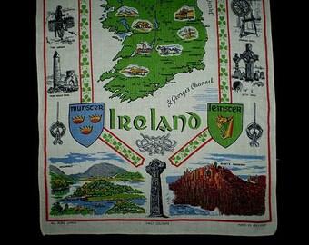 Vintage 60s Ireland Souvenir Linen Kitchen Towel