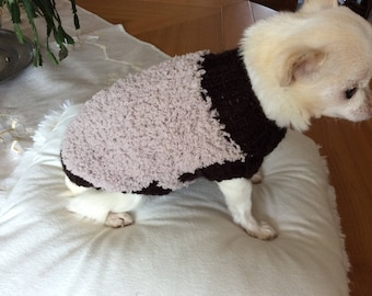 Small Brown and beige long Wool Sweater back 18 cm small dog around 1 kg 1 kg500