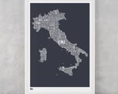 Italy Type Map Screen Print, Italy Word Map, Italy Text Map, Italy Font Map, Italy Artwork, Italy Wall Poster, Italy Wall Art, Italy Map