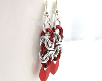 Red and Silver Byzantine Chainmaille Earrings - Ready to Ship
