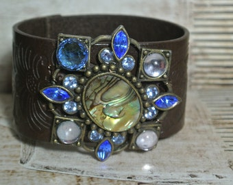 Leather Tooled Bracelet with Repurposed Brooch, Dark Brown Leather Cuff, Assemblage, Vintage Brooch, One of a Kind By UPcycled Works