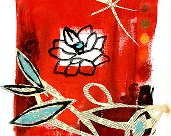 9x9, RED Lotus, on SALE, framed, original mixed media on paper by Katherine Baronet