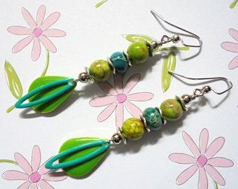 Lime Green and Aqua Boho Earrings (3366)