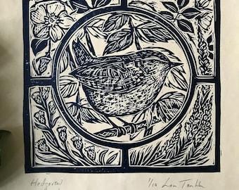 Hedge Wren lino cut print by Lou Tonkin