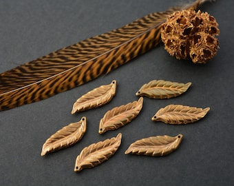 Leaves: Two Solid Leaf Bronze Pendants, 12x31mm / Pendant, Jewelry Findings, Bronze, Casted Metal, DIY Jewelry Supply / Made in the USA