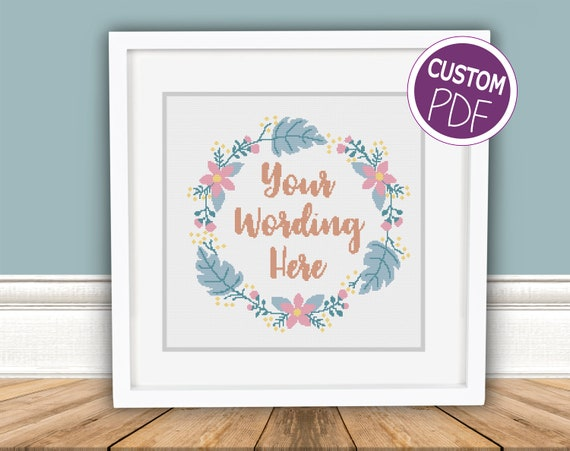 Personalised Contemporary Custom Modern Floral Cross Stitch
