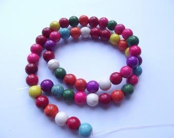 52 round beads smooth howlite 8 mm VYANA 205