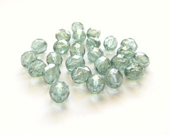 Prairie Green Czech Firepolished Glass Round Beads with Luster Finish, 8mm - 25 pieces