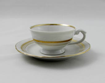 Vintage Demitasse (Small Tea Cup), White and Gold, Vintage Bone China, Made in Poland