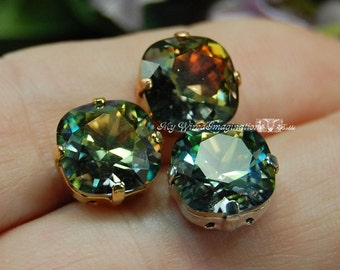Spring in New England Cushion Cut 4470 Custom Coated Swarovski Crystal 10mm With Prong Setting Crystal Sew On Craft Supplies Jewelry Making