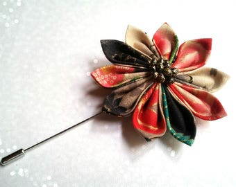 Brooch pin with flower mind kanzashi Japanese fabric