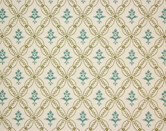 1970s Retro Vintage Wallpaper Blue and Green Floral Geometric by the Yard