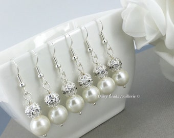 Ivory Pearl Rhinestones Earrings Ivory Earrings Bridesmaid Jewelry Bridesmaid Earrings Bridesmaid Gift  Bridal Party Jewelry