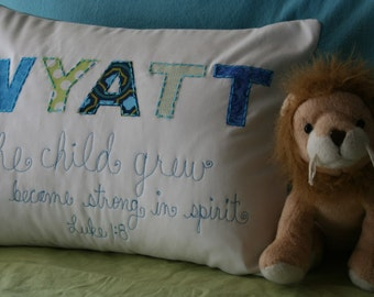 Custom Baby Gift, Custom Pillow, Personalized Pillow,Custom Name Pillow, Boy, Nursery Decor, Baby Shower, Hand-Embroidered, Scripture
