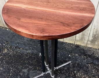 The Foundry Table Reclaimed Wood Round Bistro Table Bar Table Reclaimed Wood Round Table Black Walnut Bar Table Pub Table Cafe Table