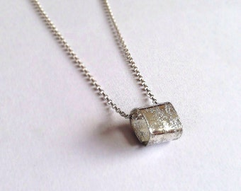 Silver Cube Necklace - Unisex Silver Square Pendant - Men's - Eco-friendly - Rough Textured Distressed Hammered