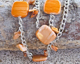 Silver Toned Chain with Tangerine Acrylic Beads and Mother of Pearl Chips