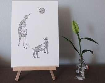 On a full moon night, I dream of...- Original artwork / black and white ink illustration of little creatures by Nana Sakata