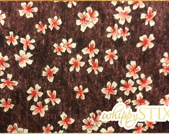 "LAST ONE! Rare! Floral Fabric 18"" Remnant, Brown Coral Springs Creative Floral CP22397, Cherry Blossom Cotton Fabric Scrap, Hard To Find"