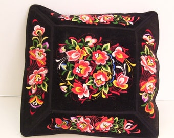 Vintage Black Velvet Pillow Cover with Long Stitch Embroidered Roses