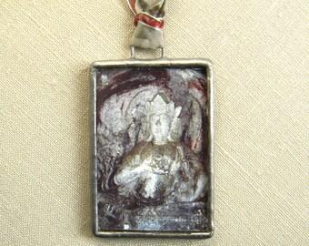 Wearable Art Jewelry - Buddha Necklace - Buddhist Art Pendant - Yoga Jewelry - Artisan Necklace - Asian Buddha - Buddha Jewelry