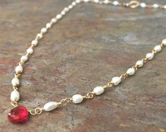 Freshwater pearl and pink tourmaline gemstone gold necklace