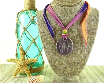 Sunset Beach Ceramic Necklace: Shell Necklace/ Beach Necklace/ Ocean Necklace/ Handmade Necklace/ Lavender/ Mermaid Necklace/ Beach Boho