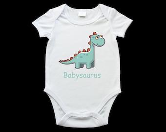 Babysaurus dinosaur baby onesie, cute baby dinosaur romper suit, birth gift