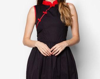 Black Qipao, Modern Qipao, Qipao Dress, Cheongsam Dress, Little Black Dress, 1960s Dress, Oriental Dress, Cotton Cheongsam, Cotton Qipao