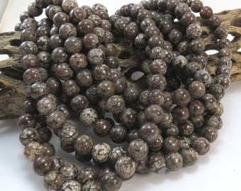 Brown Snowflake Jasper, Natural 8mm Round Beads, 16 inch Strand, 8mm Brown Beads, Beading Supplies, Item 1010pm
