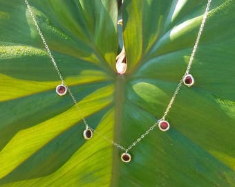 Rose bezel set jewel charm necklace